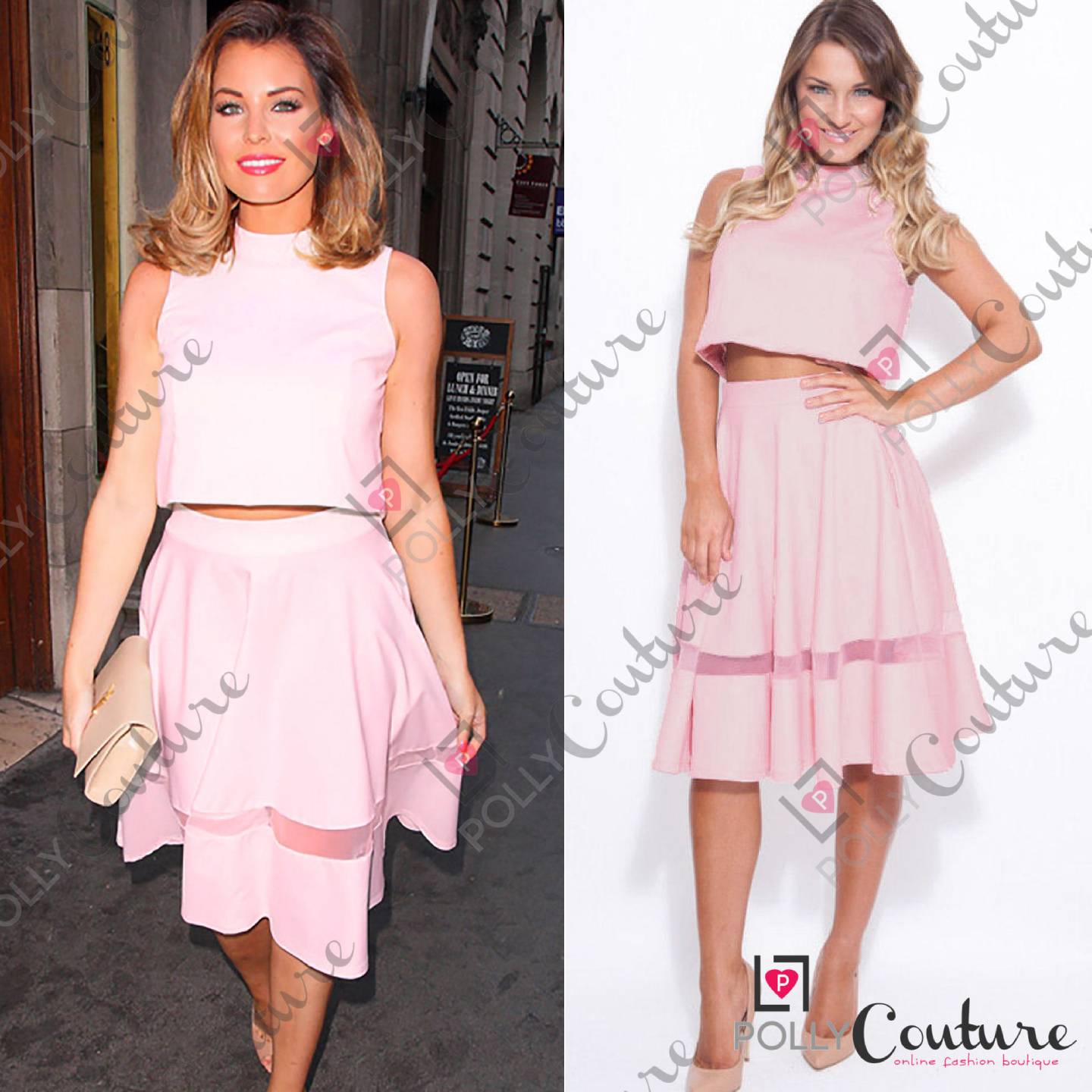 womens crop top and a line skirt matching two