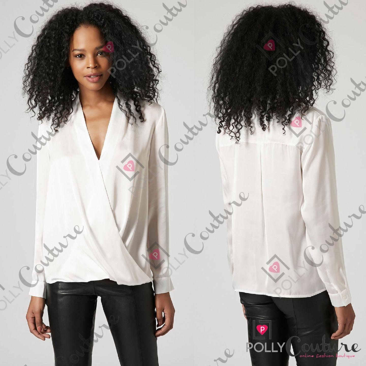 Womens Navy White Wrap Drape Blouse Shirt Smart Long Sleeve Ladies ...