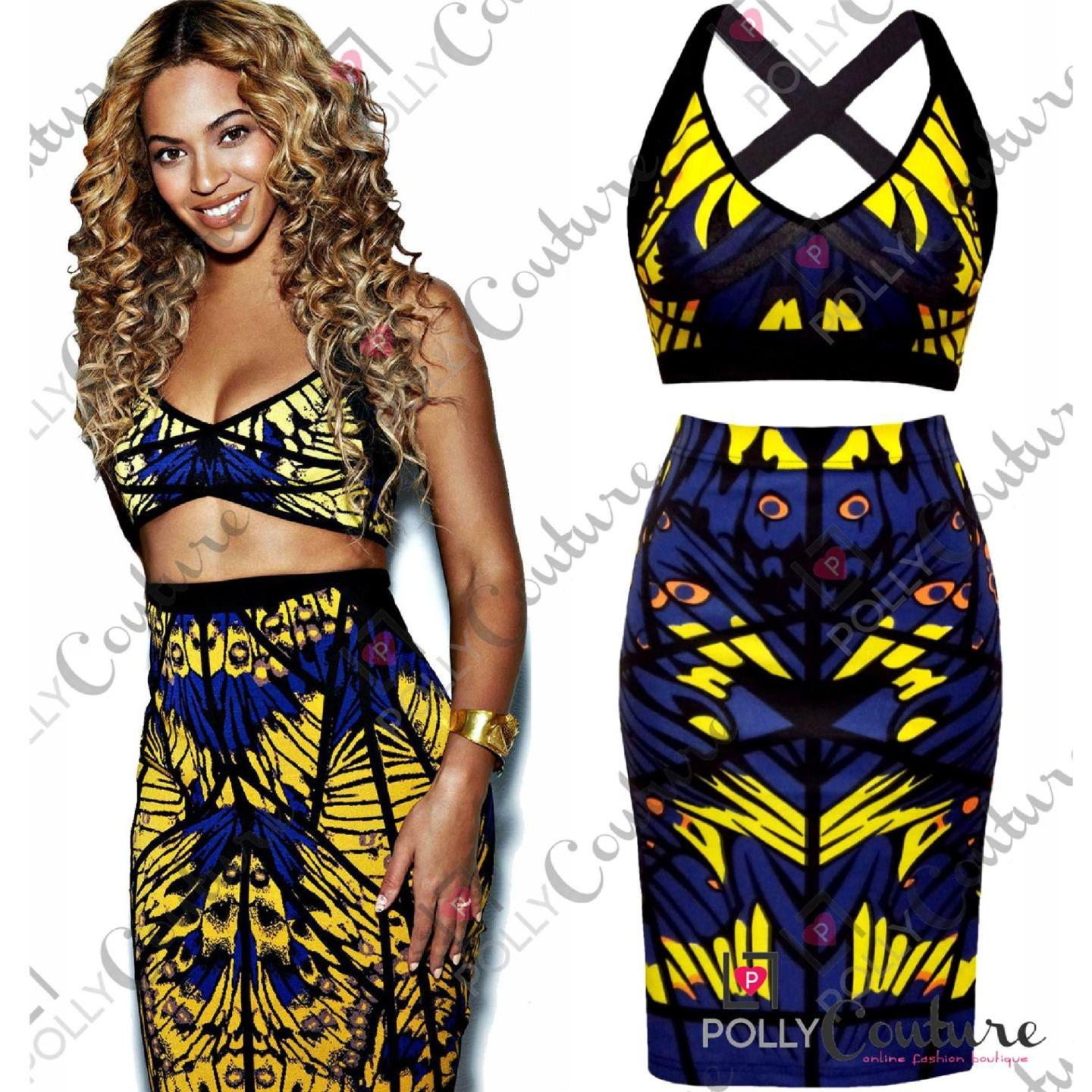 Womens Bandage Bodycon Two Piece Bralet Crop Top and Midi Skirt ...