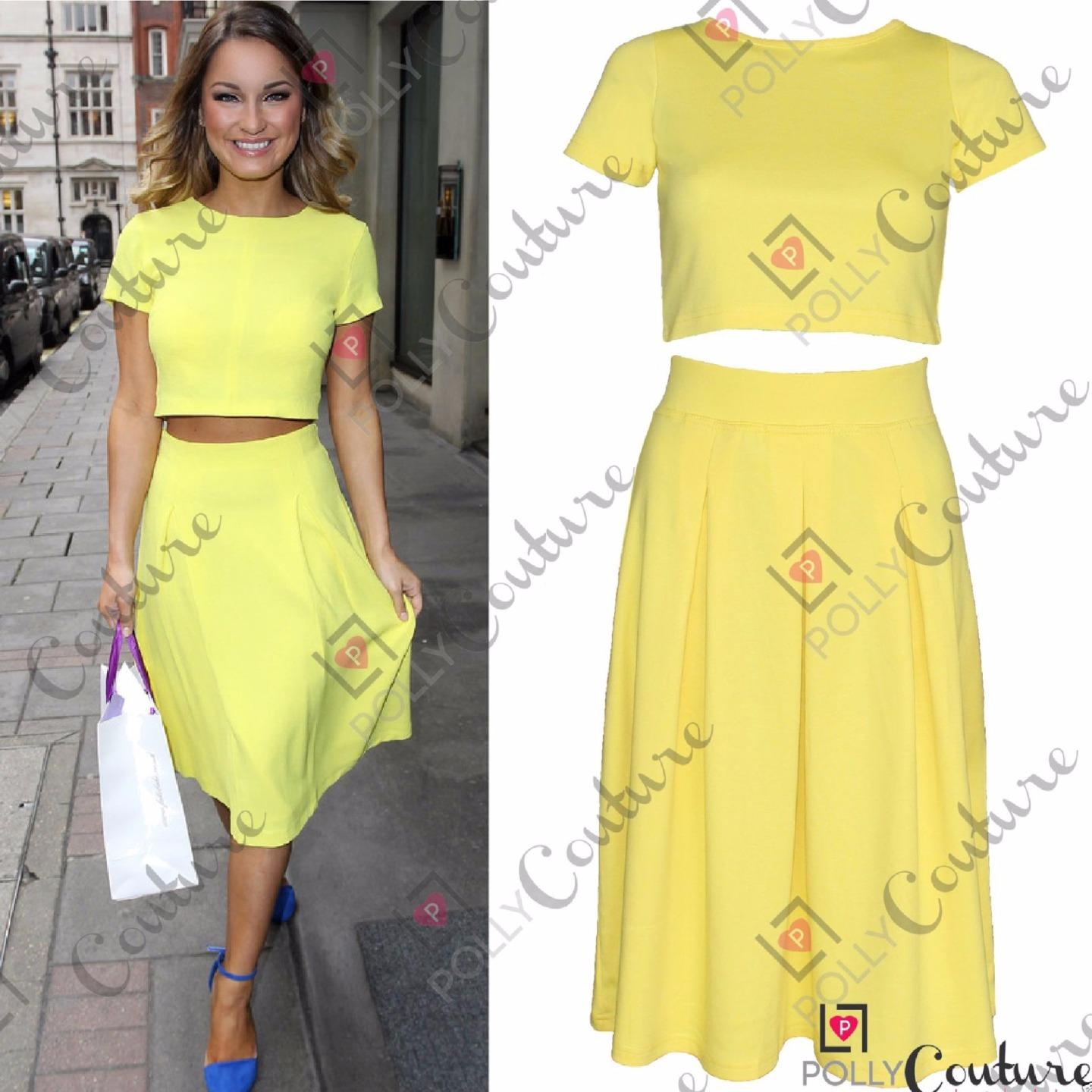 womens two crop top and pleated midi skirt