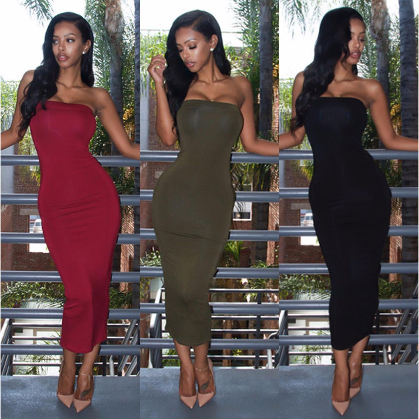 womens smart bodycon evening party midi long length ladies