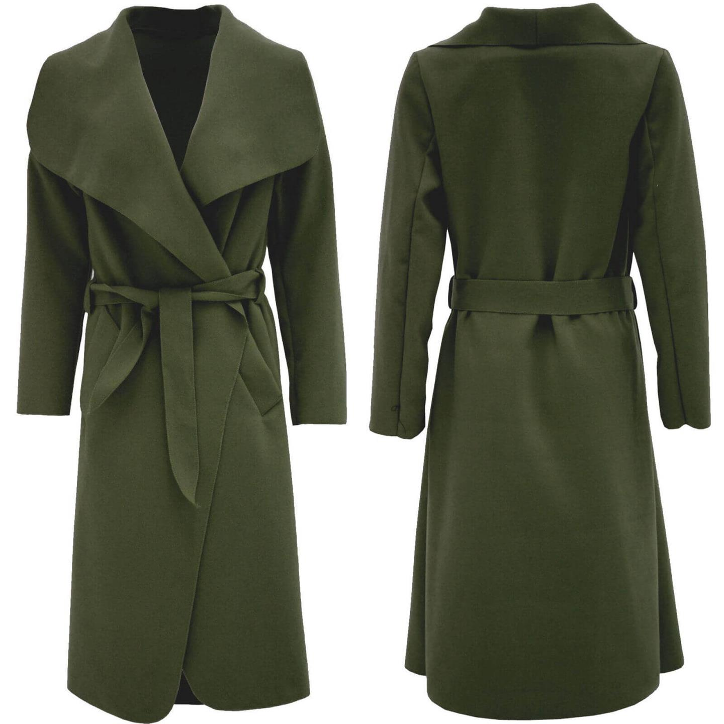 Womens Long Camel Waterfall Wrap Drape Belted Evening Winter Trench Jacket Coat