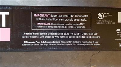 tec in-floor heat- heating panel system 15 sq ft honeywell heated
