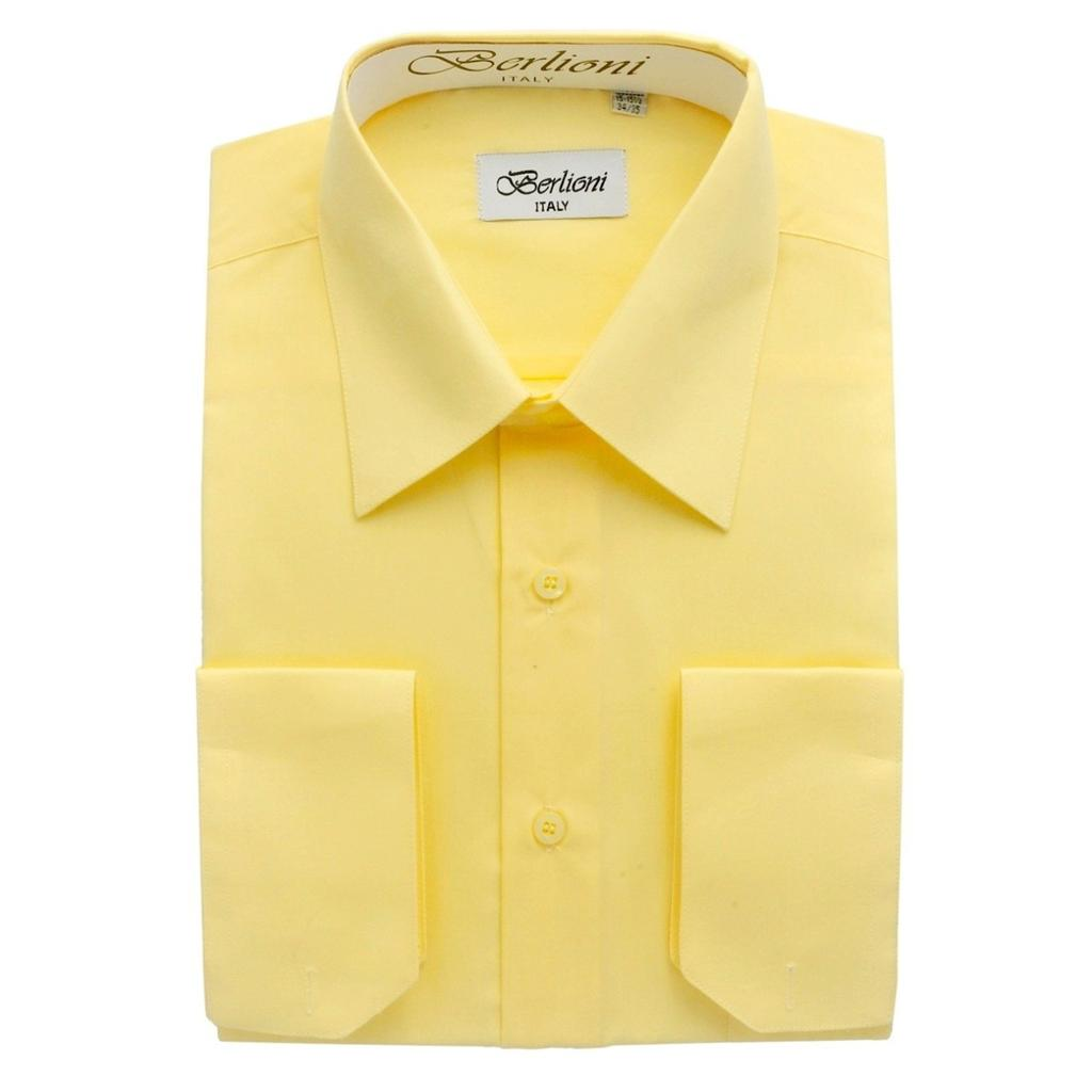 berlioni lemon yellow button down mens dress shirt use
