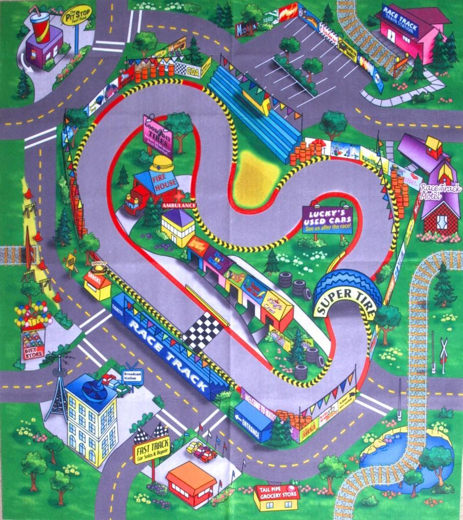 Race Track Floor Play Mat Game Children Toy Themed Felt