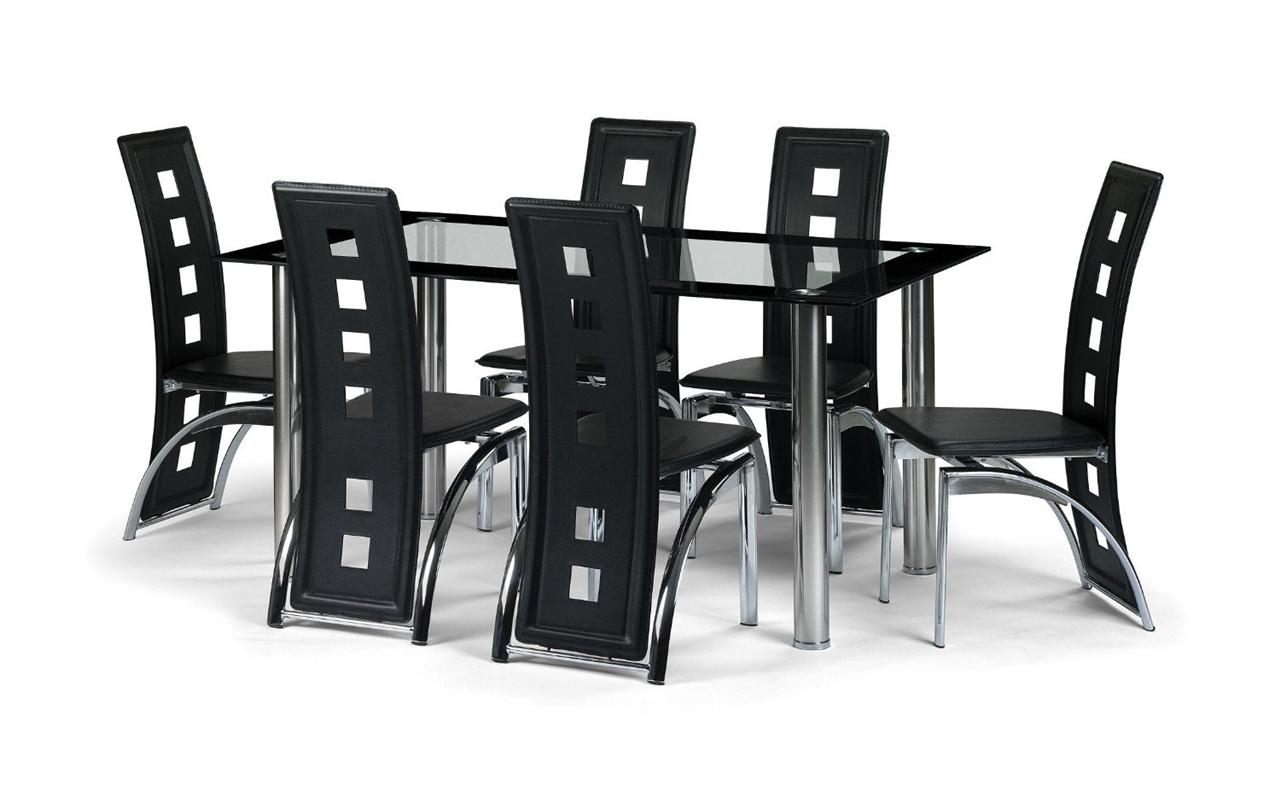 Black Glass Dining Room Table Set And With 4 6 Or 8 Faux Leather Chairs Chrome