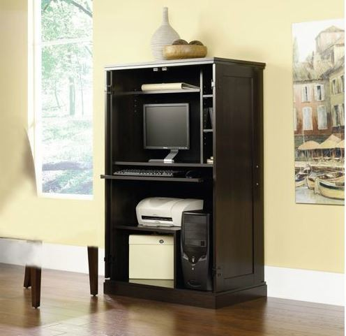 NEW! Computer Armoire Desk Hutch Workstation Hideaway Cherry or Black