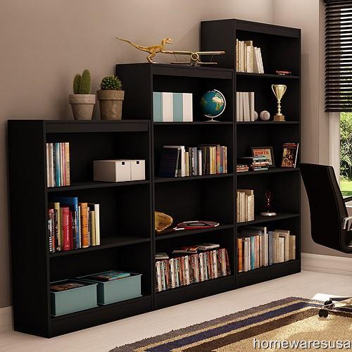 new 3piece bookcase set 5 4 3 shelf book shelves choose black or white. Black Bedroom Furniture Sets. Home Design Ideas