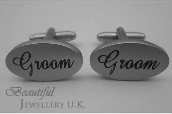 MATT SILVER OVAL Mens Wedding Cufflinks Cuff Link Father Bride Groom Page Gift