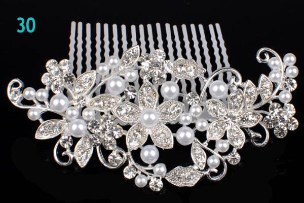 BRIDAL HAIR COMBS PEARL WEDDING COMB CRYSTAL DIAMANTE VINTAGE SLIDE CLIP TIARA