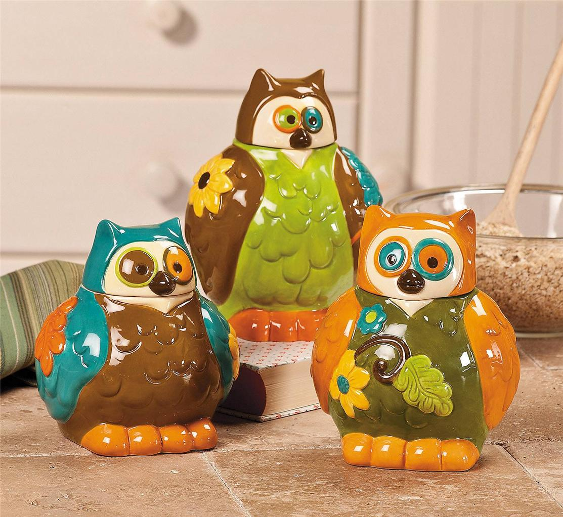 Owl Canisters Jars Kitchen Decor Set Of 3 New Ebay