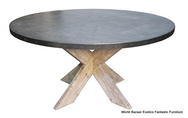 60 Round Dining Table Beautiful Zinc Top Old Wood Base Grey EBay