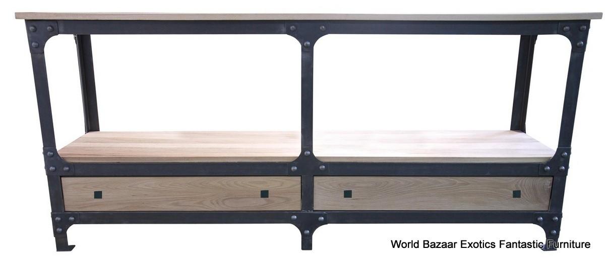 72 console table beautiful walnut wood metal from natural walnut finish ebay. Black Bedroom Furniture Sets. Home Design Ideas
