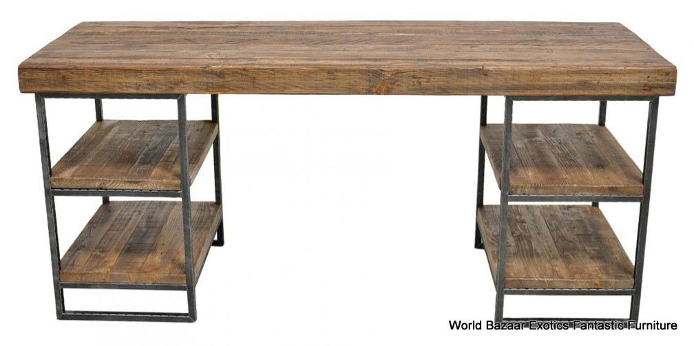 "67"" desk home office Table Industrial Reclaim wood Metal frame 2 level ..."