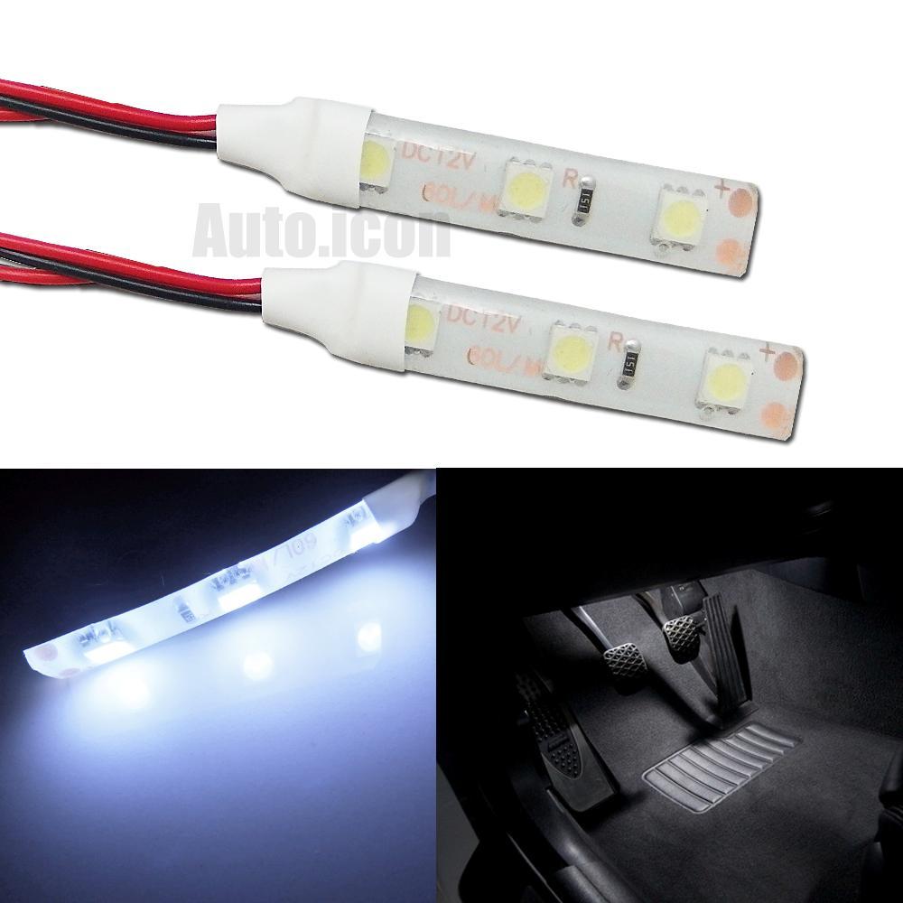 2pcs hid white 3 smd diy led strip lights for car gauge cluster foot area lamps ebay. Black Bedroom Furniture Sets. Home Design Ideas