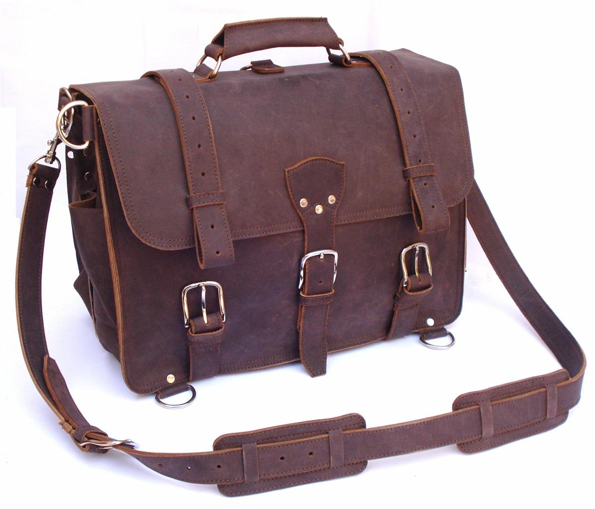 Extra Large 18 Quot Thick Full Grain Leather Briefcase