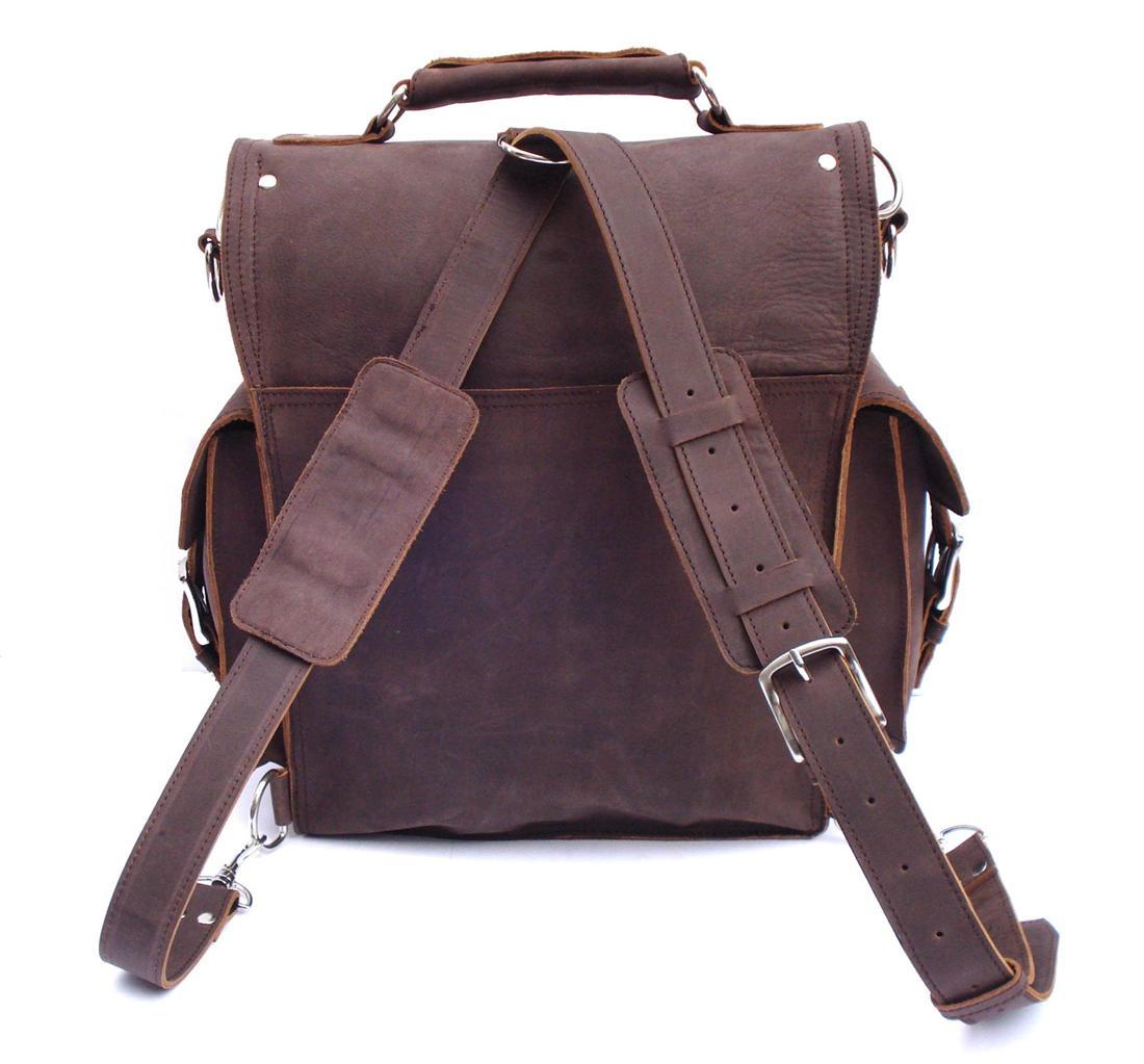 Vintage Rugged Leather Backpack Messenger Bag Briefcase