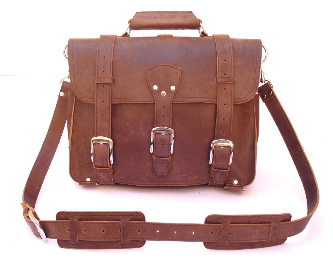 16 Quot Thick Full Grain Rugged Leather Briefcase Messenger
