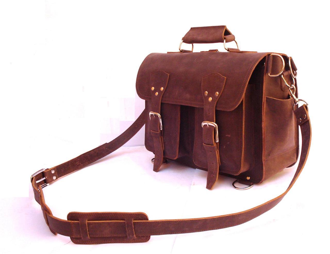 16 Quot Vintage Style Leather Briefcase Messenger Bag Laptop