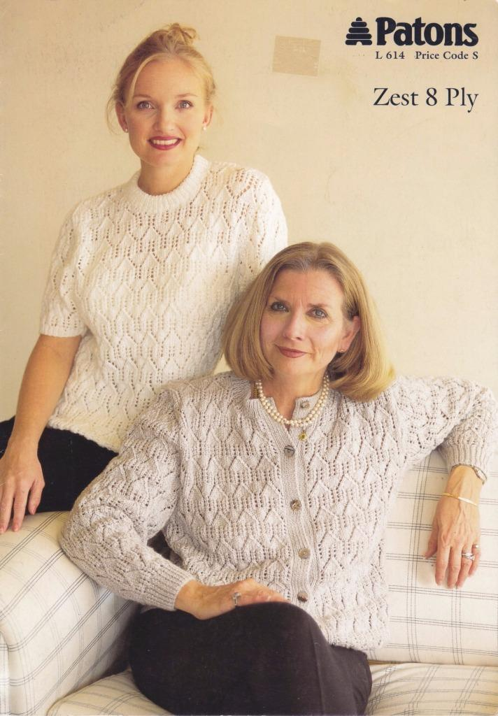 Knitting Pattern Cardigan 8 Ply : Patons knit ptn Leaflet L614 - LADIES 8 ply JUMPER or CARDIGAN eBay