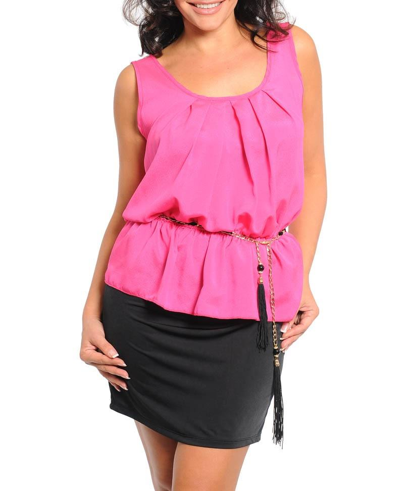 Pink and black peplum dress