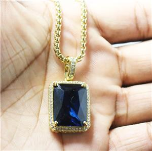 Mens Sapphire Blue Square Gem Stone Pendant Necklace. Onyx Gemstone. Mothers Jewelry. Jewelry Bands. Two Chains. Black Bands. Thin Bangle Bracelets. Hug Earrings. Rare Engagement Rings