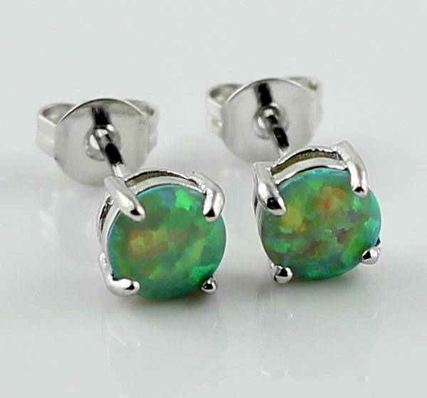 2015 Fashion Jewelry Classical Round Opal Silver Plated Stud Earrings For Women