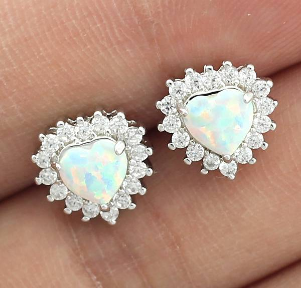 Heart Blue White Pink Fire Opal CZ Women Jewelry Silver Plated Stud Earrings