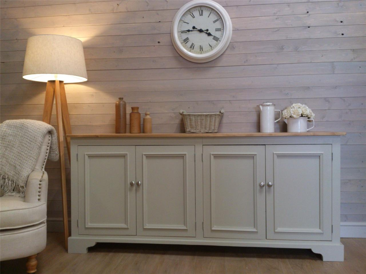 New huge solid pine sideboard kitchen unit shabby chic for Painted buffet sideboard