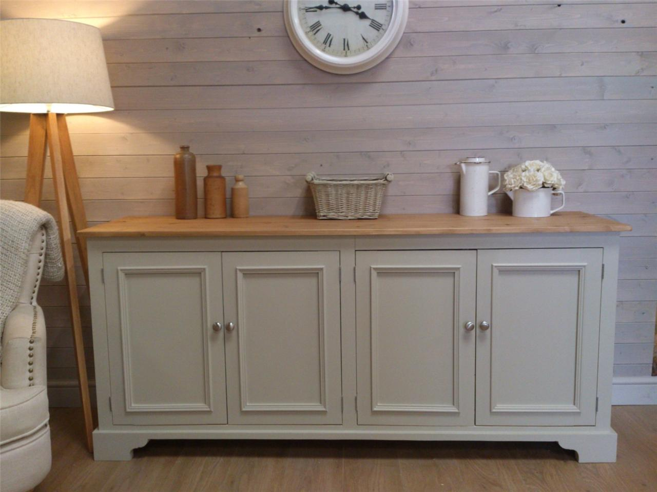 new huge solid pine sideboard kitchen unit shabby chic painted furniture f ball ebay. Black Bedroom Furniture Sets. Home Design Ideas