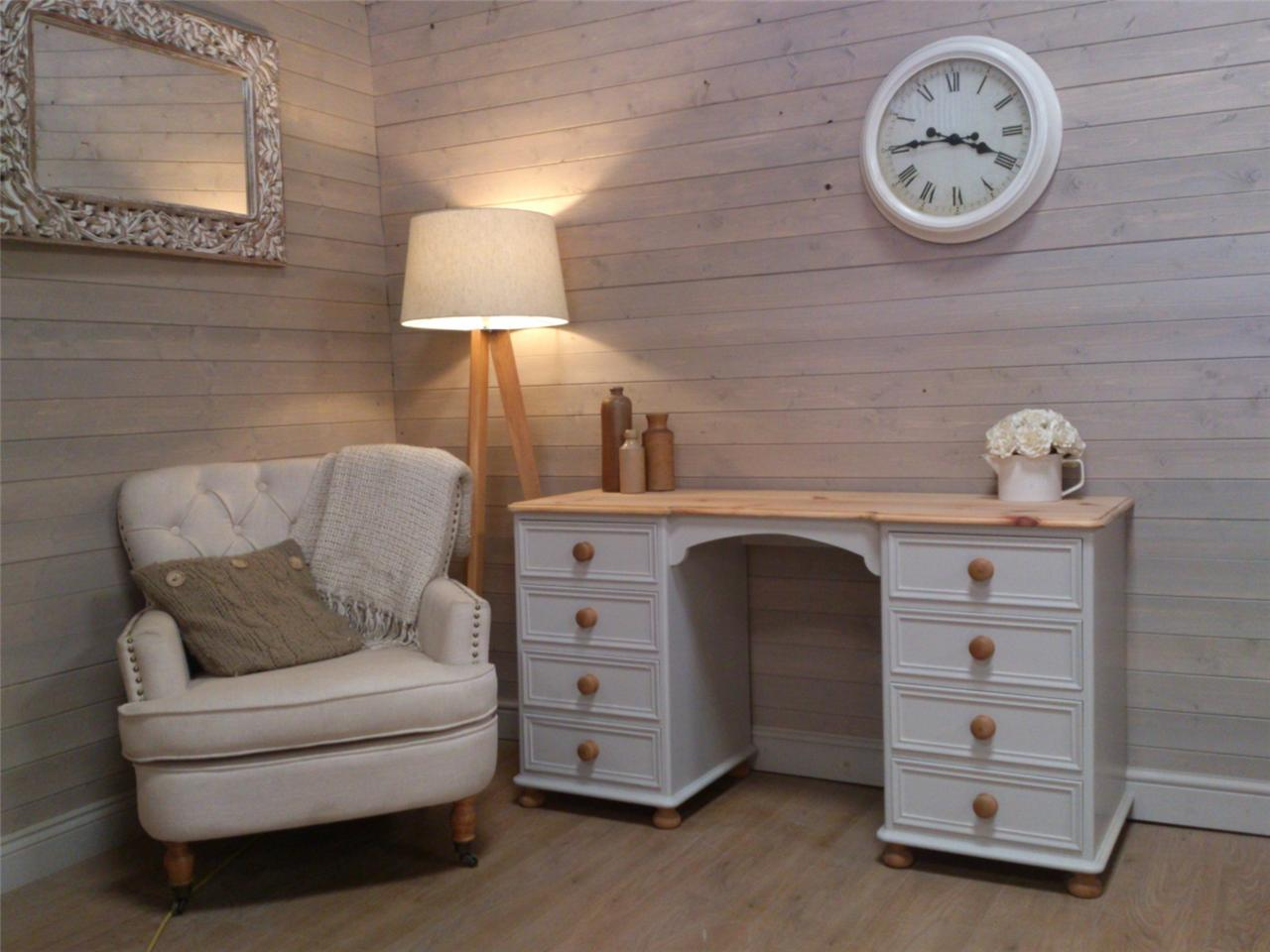 solid pine shabby chic painted desk dressing table office furniture little green. Black Bedroom Furniture Sets. Home Design Ideas
