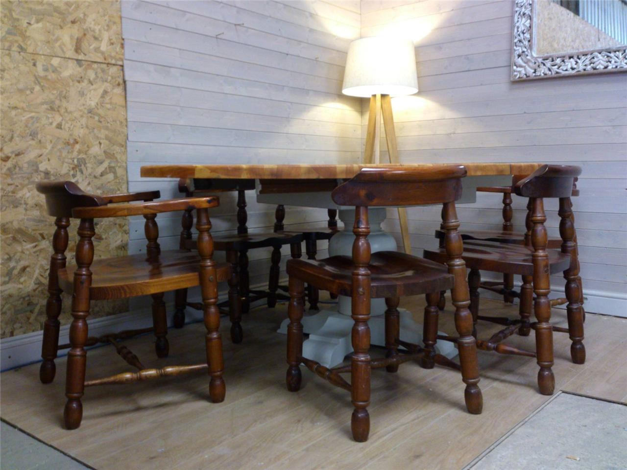 Solid Pine Round Dining Table Six Chairs Dining Shabby Chic Painted Har