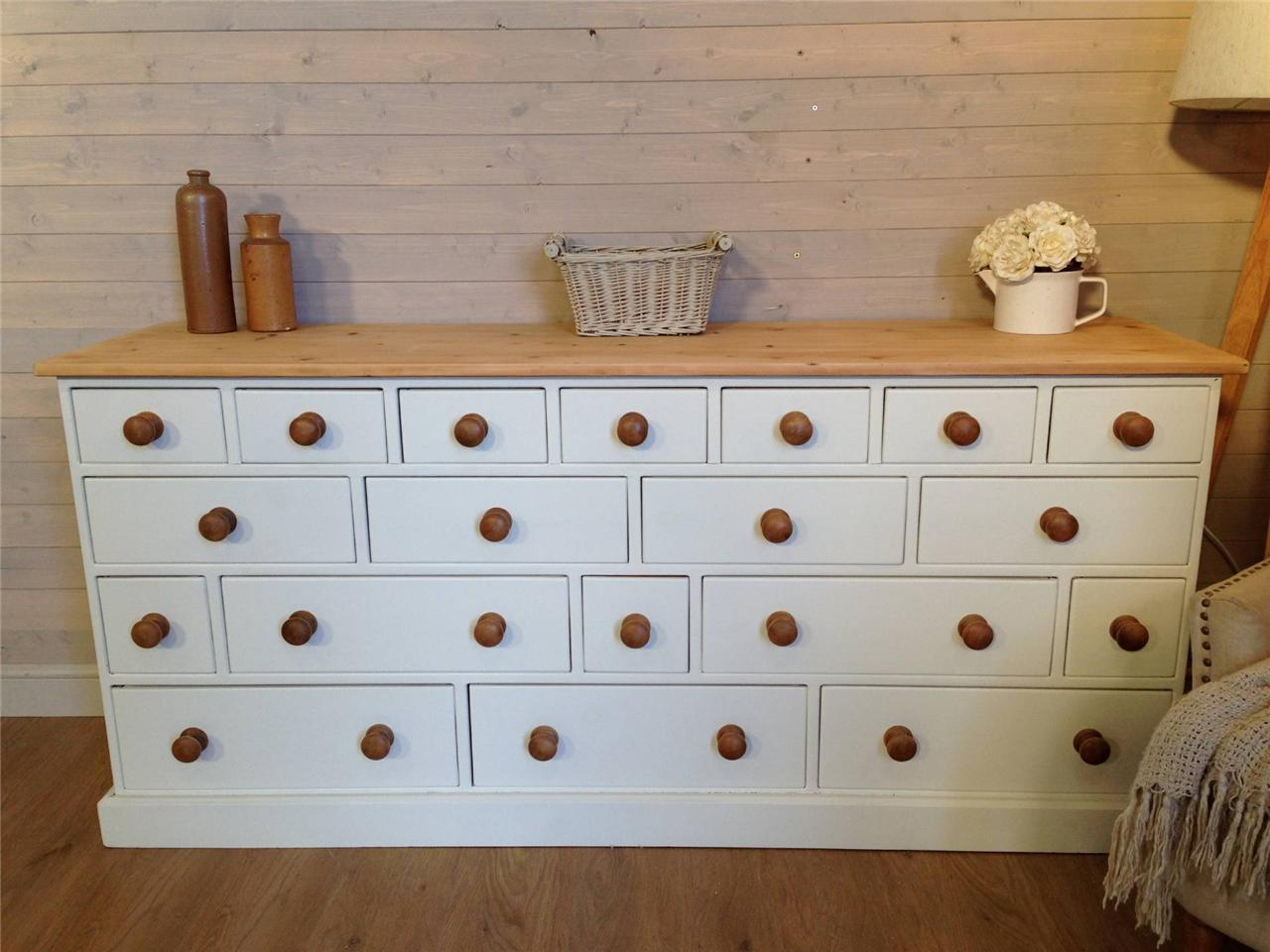 huge solid pine apothecary style sideboard cabinet shabby chic painted furniture ebay. Black Bedroom Furniture Sets. Home Design Ideas