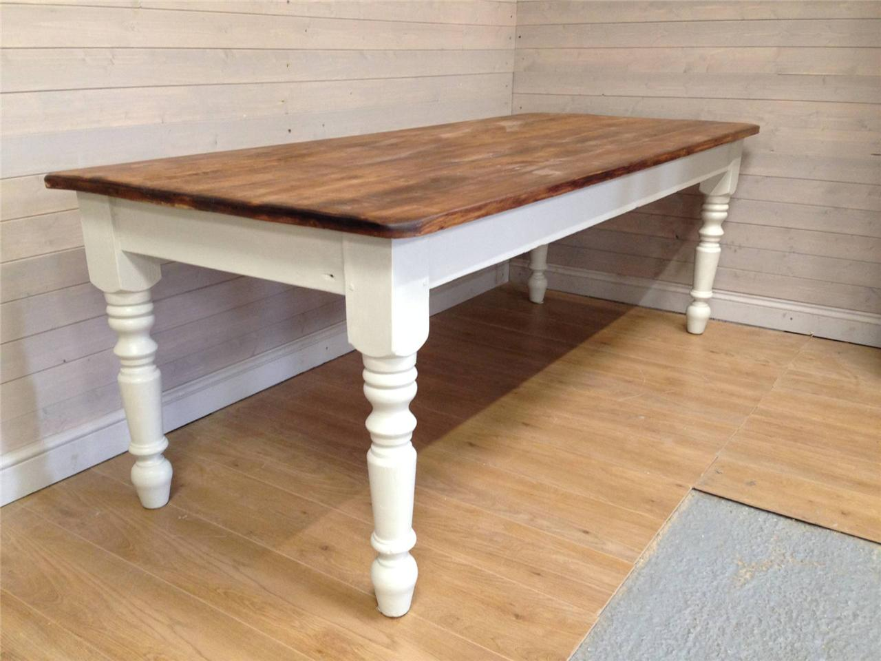 Rustic Reclaimed Solid Pine Farmhouse Dining Table Shabby Chic Painted