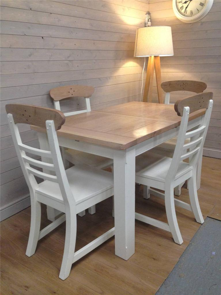 Solid Oak Dining Table Four Chairs Dining Shabby Chic Painted Extendabl