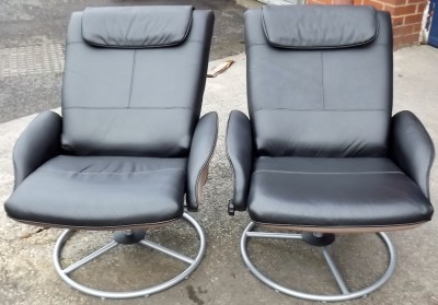 Ikea black leather swivel relax nursing chair poang familynot ekornes stressless ebay - Chairs similar to poang ...
