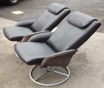 Ikea Black Leather Swivel Relax Nursing Chair Poang