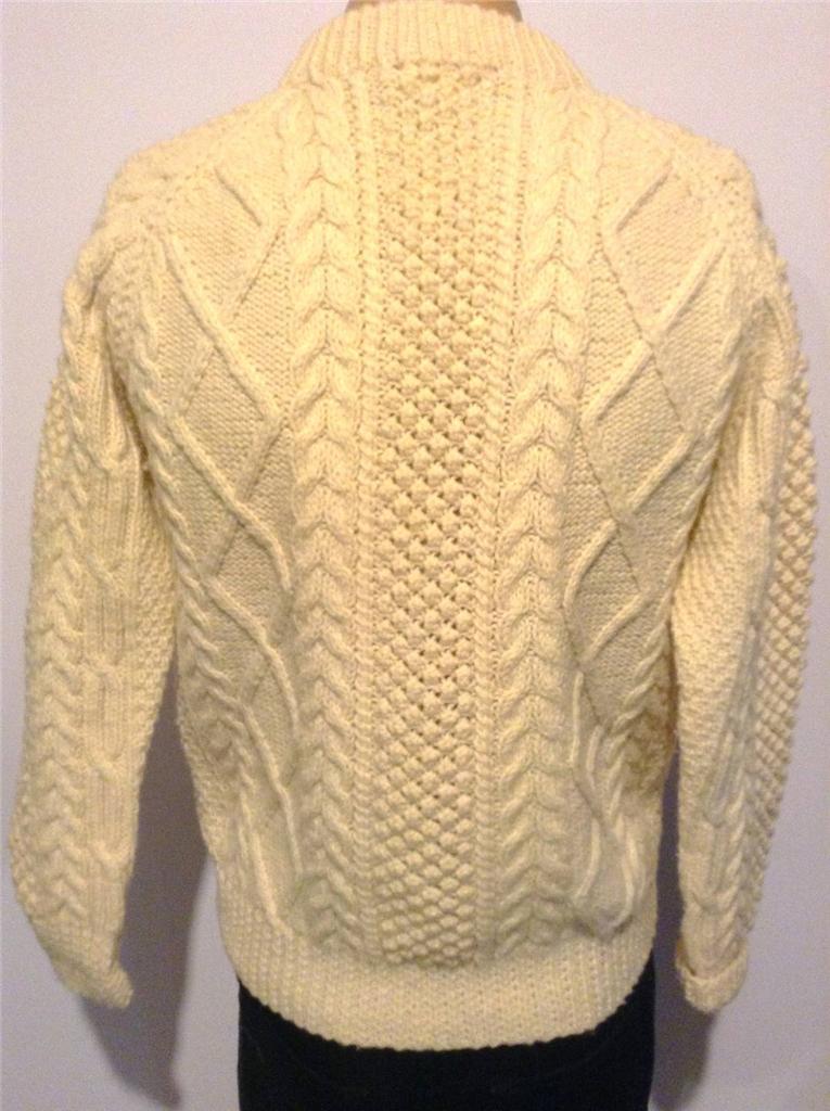 Irish Cable Knit Sweater Patterns : Authentic BLOODYFORELAND Irish FISHERMAN Sweater POPCORN Cable Knit WOOL SZ M