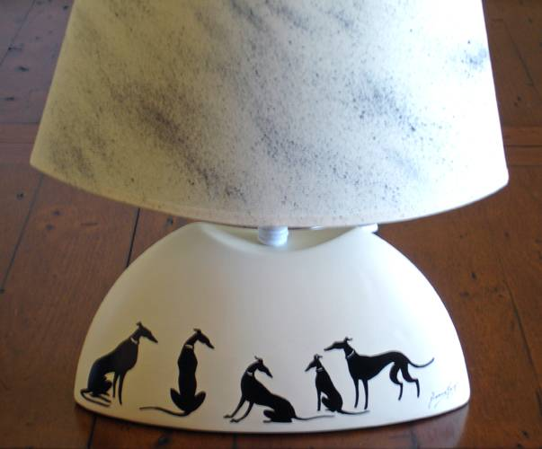 one off greyhound lurcher whippet hand painted lamp em6615. Black Bedroom Furniture Sets. Home Design Ideas