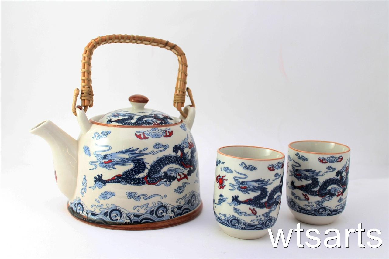 Dragon chinese tea pot and 2 tea cup set infuser mix styles teapot japanese ebay - Japanese teapot with infuser ...