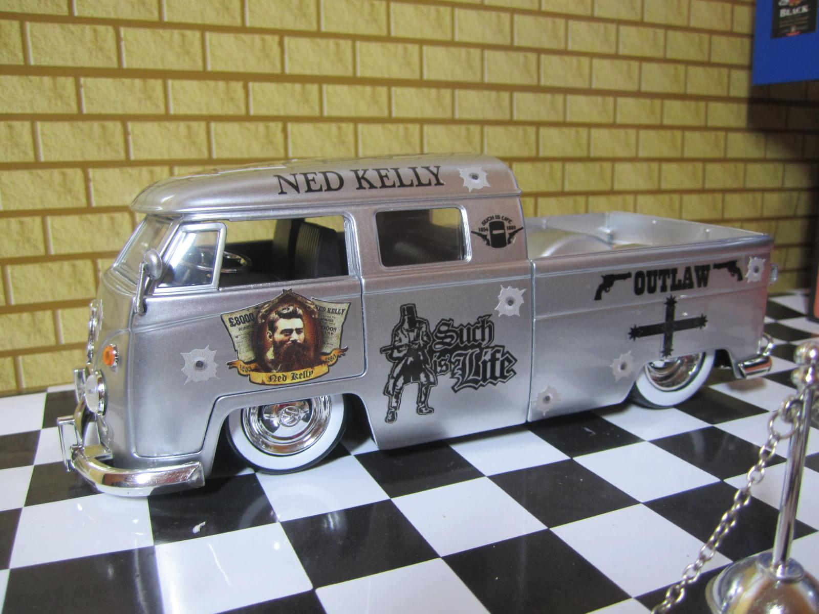 1963-VW-Bus-Pickup-Ute-1-24-Custom-Ned-Kelly-Code3-Diecast-Barware-Mancave