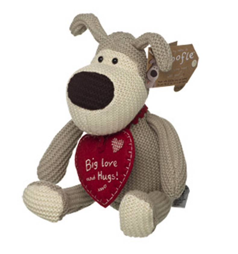 Knitting Pattern For Boofle Dog : Boofle BIG LOVE and Hugs Red Heart Dog Tag Sitting Christmas Winter Knitted G...