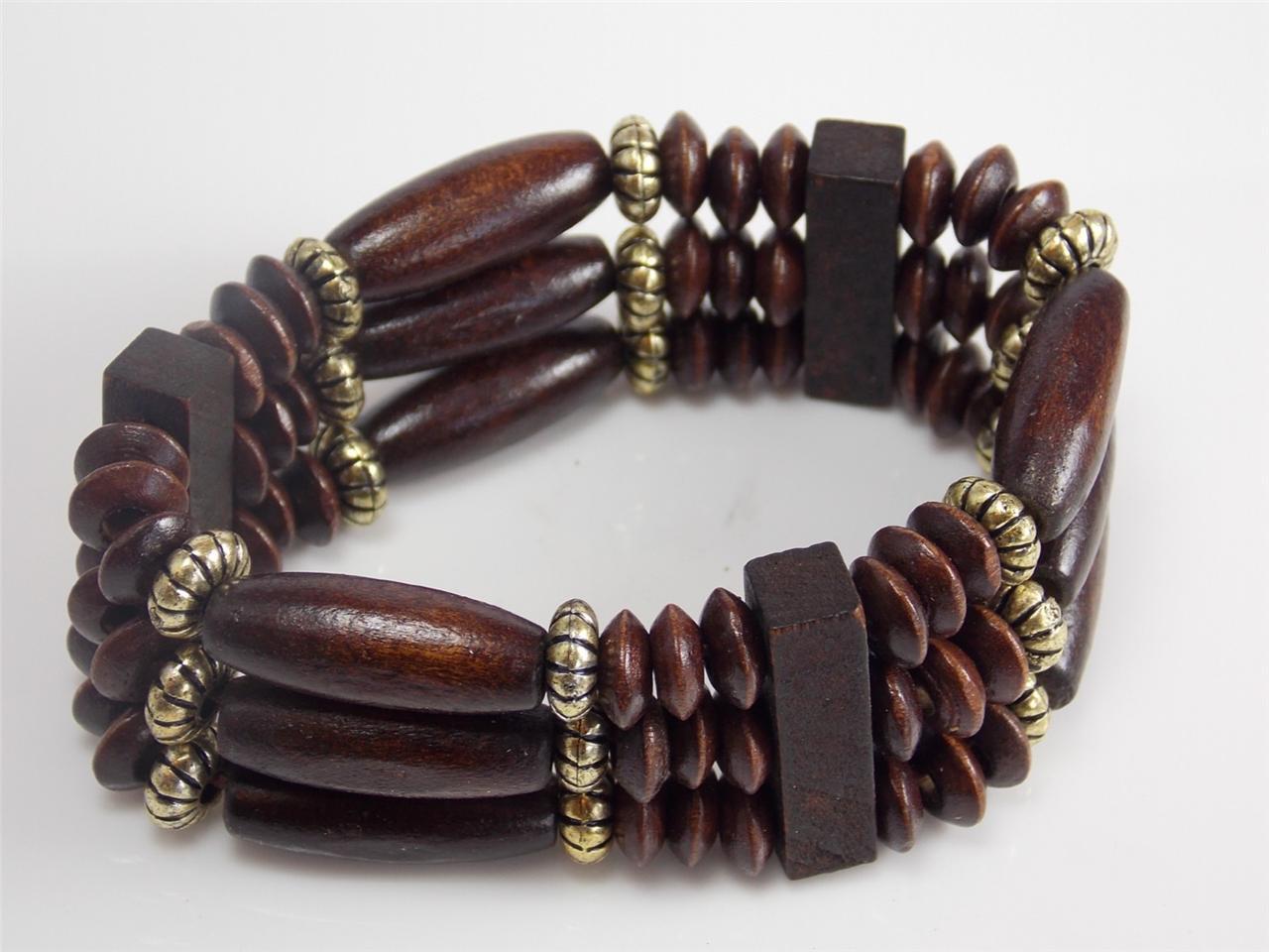mens bead wood bracelet men women cuff bangle wood. Black Bedroom Furniture Sets. Home Design Ideas