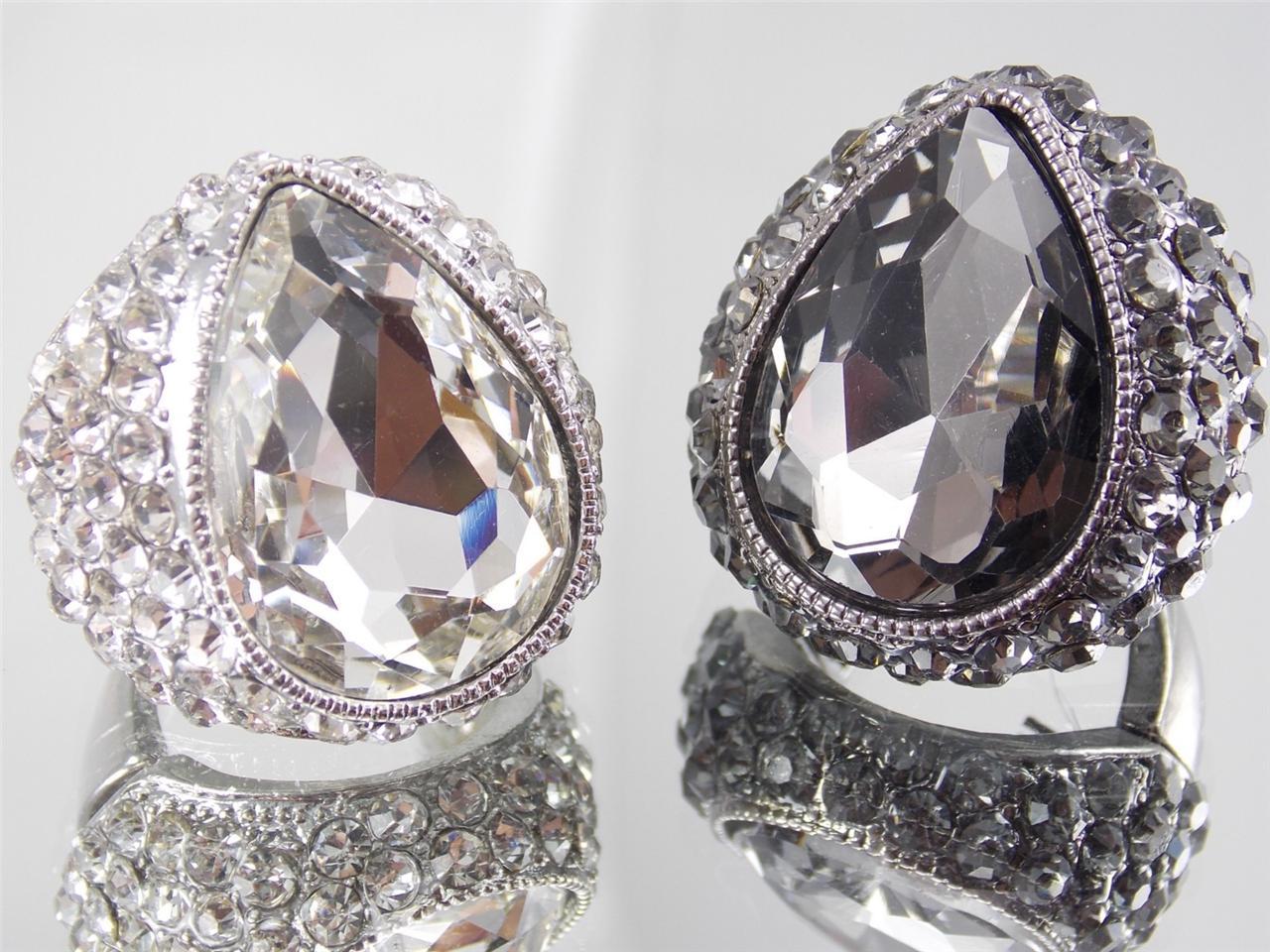large stretch ring rhinestone crystal heart shaped ring