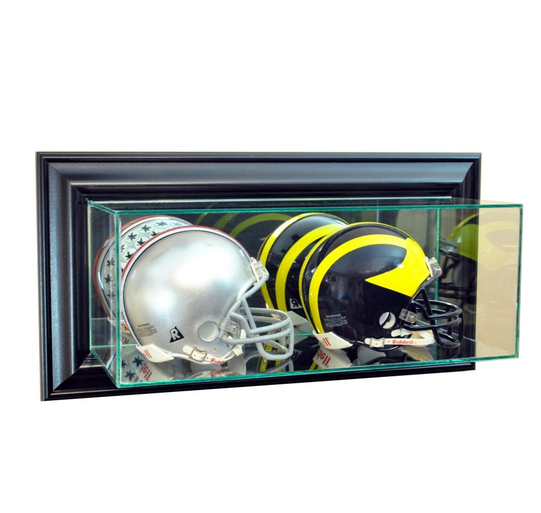 wall mounted glass double mini helmet display case ebay. Black Bedroom Furniture Sets. Home Design Ideas