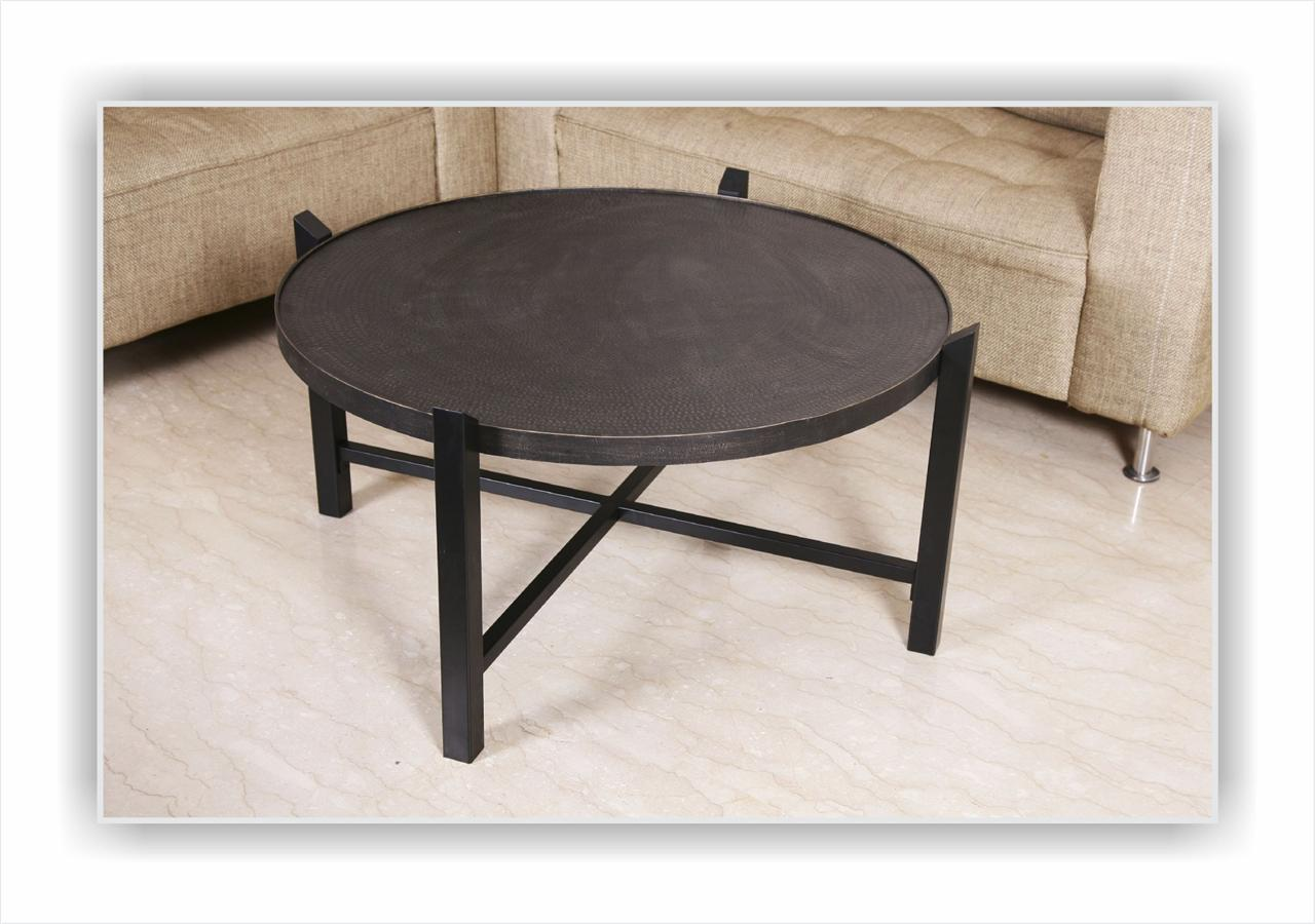 Wrought iron large round coffee table with embosed steel ebay Wrought iron coffee tables