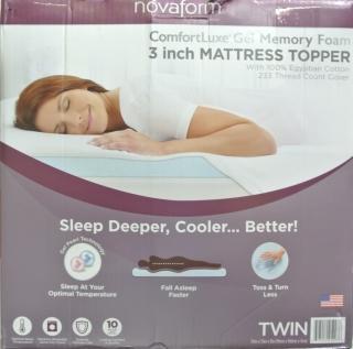 novaform comfort luxe 3 gel memory foam mattress topper twin size ebay. Black Bedroom Furniture Sets. Home Design Ideas
