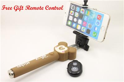 brown mickey mouse selfie stick handheld telescopic monopod free gift remote ebay. Black Bedroom Furniture Sets. Home Design Ideas