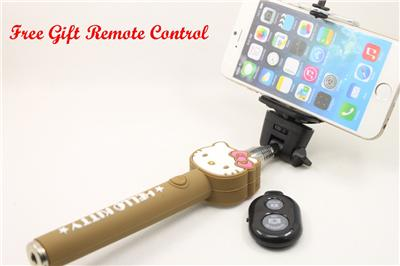 brown hello kitty selfie stick handheld telescopic monopod free gift remote ebay. Black Bedroom Furniture Sets. Home Design Ideas