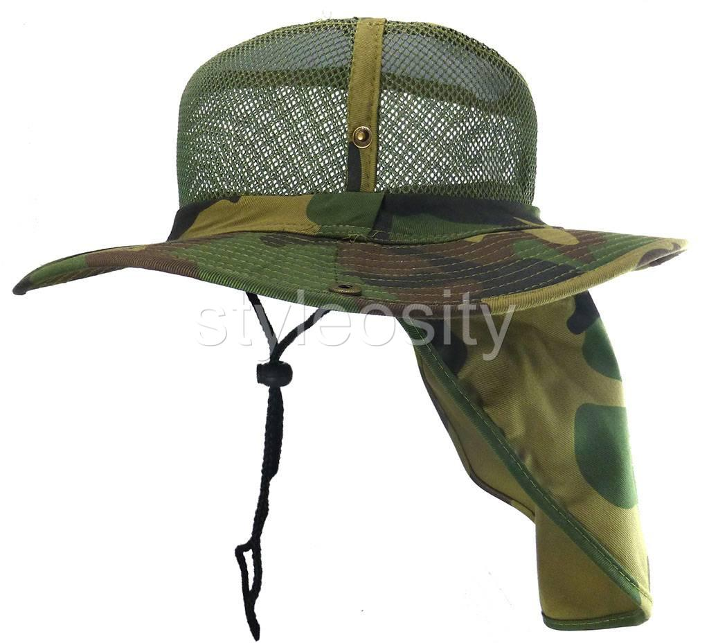Mesh hunting fishing hiking hat neck sun protection cap for Fishing sun hat